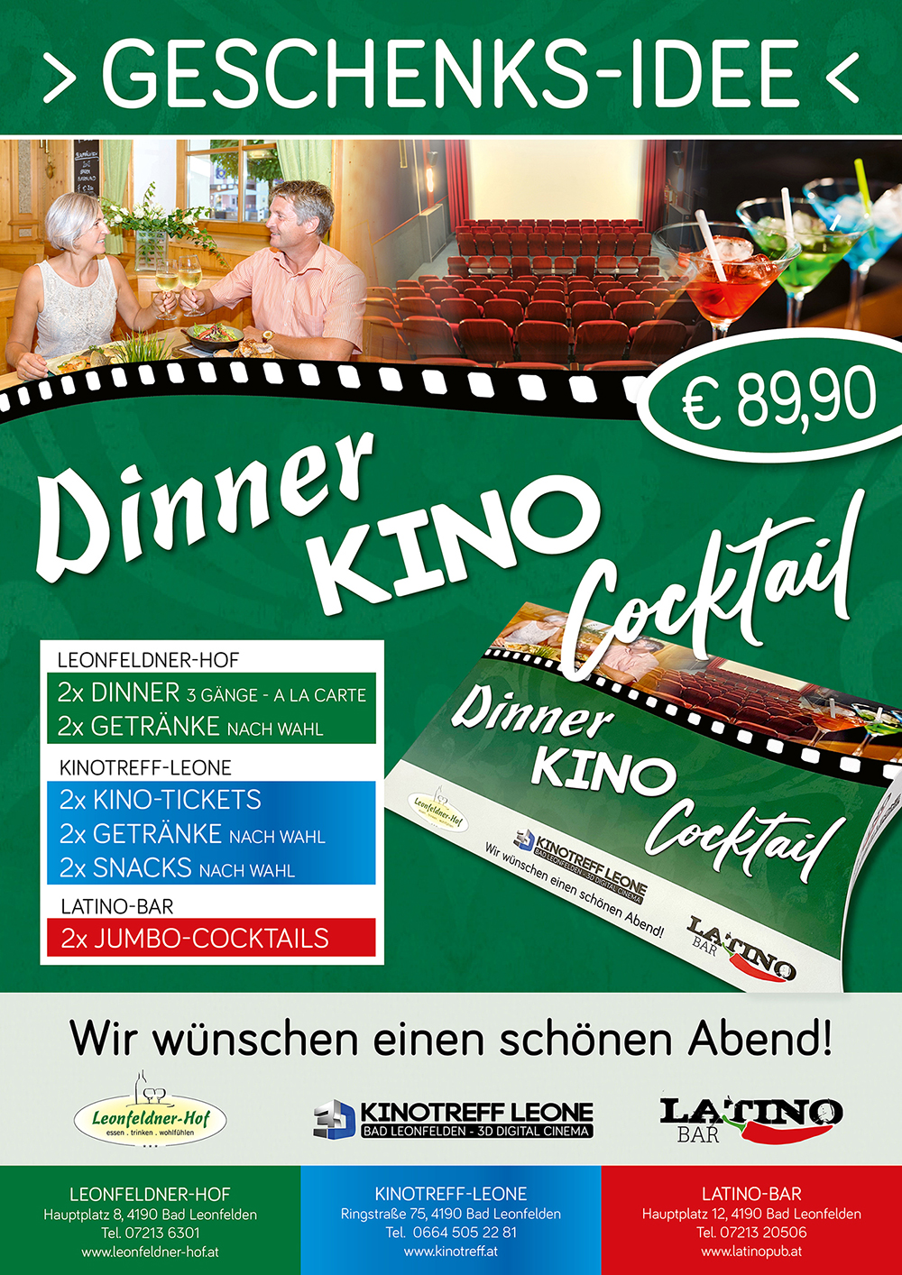 Dinner Kino Cocktail Plakat